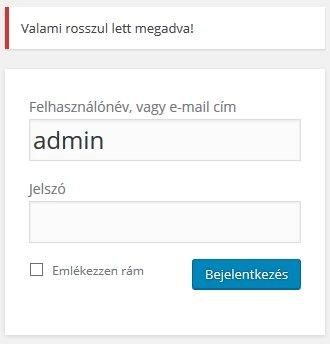 WordPress bejelentkezés hibaüzenet