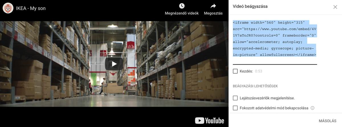YouTube videók a weboldaladon