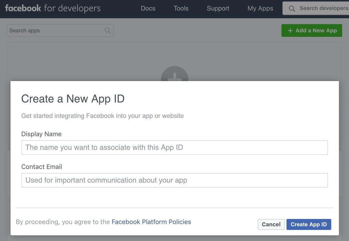 Facebook App létrehozása