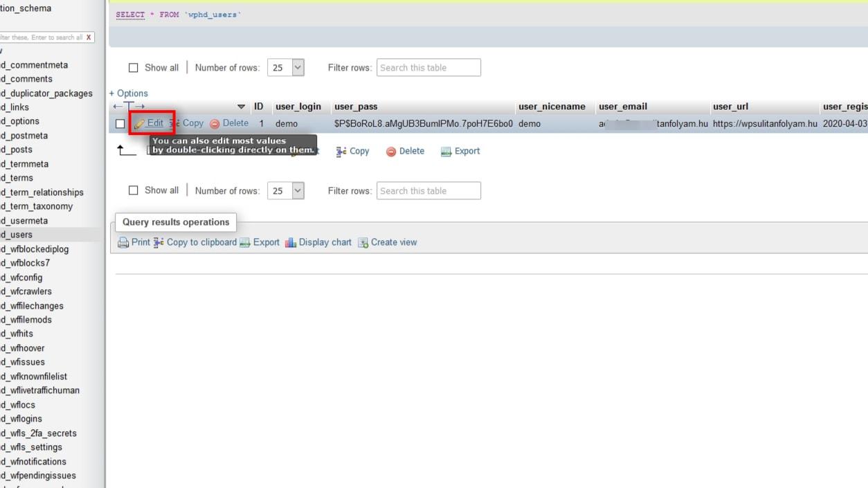 Wordpress Admin Jelszo Phpmyadmin 4