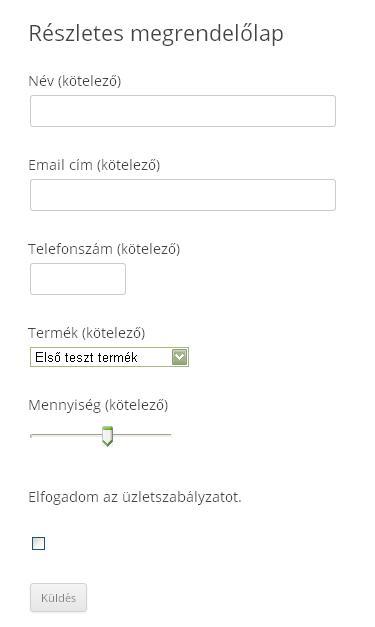 Contact Form 7 megrendelőlap
