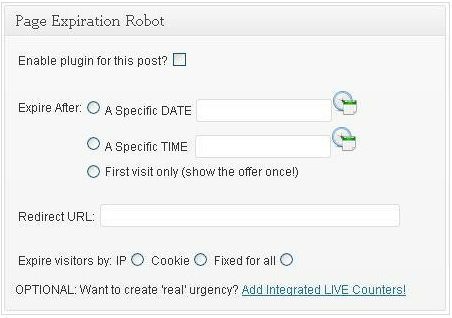 A Page Expiration Robot beállítópanelje