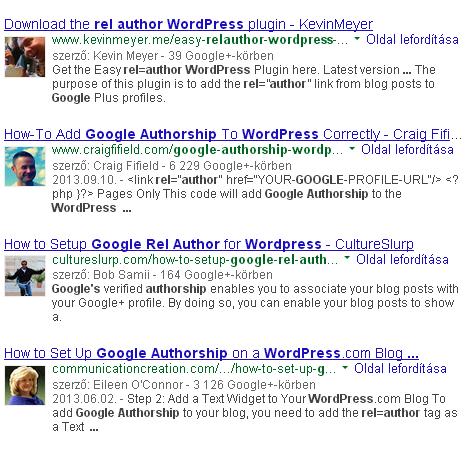 Google találatok a szerző fényképével